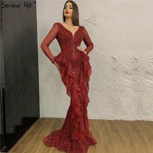 Image 1 - Dubai Wine Red Sequined Luxury Evening Dresses 2020 Deep V Long Sleeve Sparkle Sexy Formal Dress Serene Hill LA70404