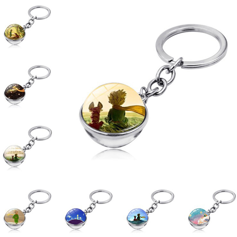Don't Be A Boring Adult Le Petit Prince B-612 Planet The Little Price Fox Rose Jewelry Fairy Tale Glass Ball Douside Keychain
