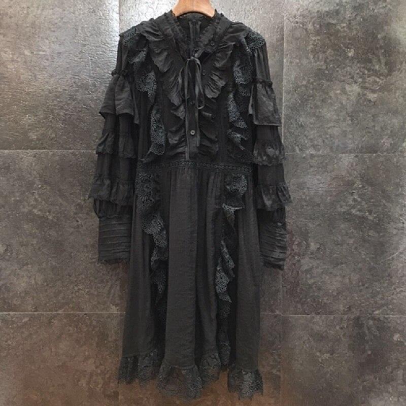 Vestido de pasarela de diseñador de alta calidad 2020 primavera para mujer Vestidos de encaje bordado Patchwork manga larga blanco negro - 3