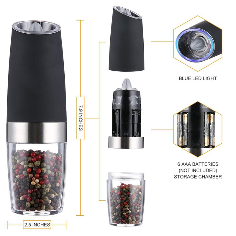 Electric Salt and Pepper Grinder Set,Gravity Control Battery Powered With Blue LED Light, Adjustable Ceramic Coarseness