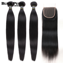 블랙 펄 30 32 34 인치 페루 헤어 번들 4 개/몫 스트레이트 인간의 머리카락 3 묶음 인간의 머리카락 위브