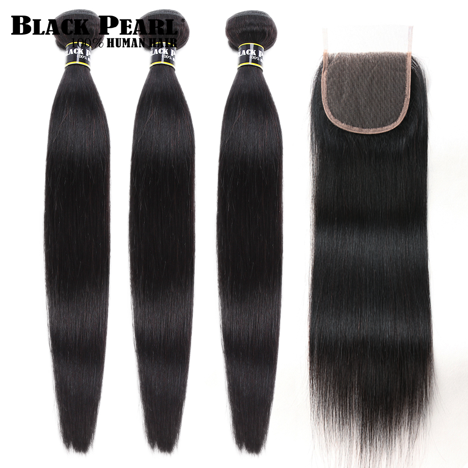 Black Pearl Non  Remy Peruvian Hair Bundles With Closure 4pc/lot Straight Human Hair 3 Bundles With Closure Human Hair Weave