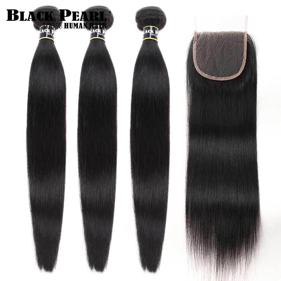 Perla Negra no Remy Peruvian pelo mechones con cierre 4 pzas/lote cabello humano recto 3 mechones con cierre de la armadura del pelo humano