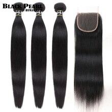 Zwarte Parel 30 32 34 Inch Peruaanse Haar Bundels Met Sluiting 4 Stk/partij Straight Menselijk Haar 3 Bundels Met Sluiting menselijk Haar Weave