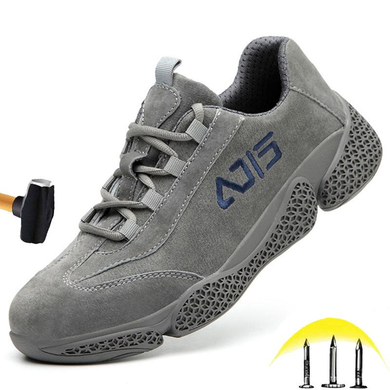 New Men's Steel Toe Safety Shoes Lightweight Anti-breathable Suede Anti-scalding Welder Work Shoes Wear-resistant Non-slip Sneakers