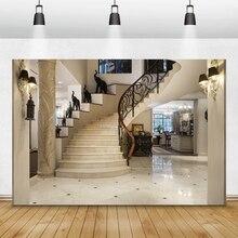 Laeacco lujo Palacio escalera espiral Pilar decoración Interior fotografía fondos retrato familiar fondos para estudio fotográfico