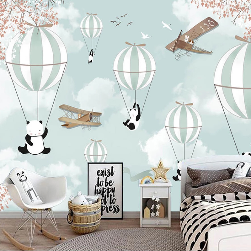 Custom Mural Wallpaper For Kids Room 3D Cartoon Hot Air Balloon Wall Painting Children Room Bedroom Decoration Photo Wall Paper