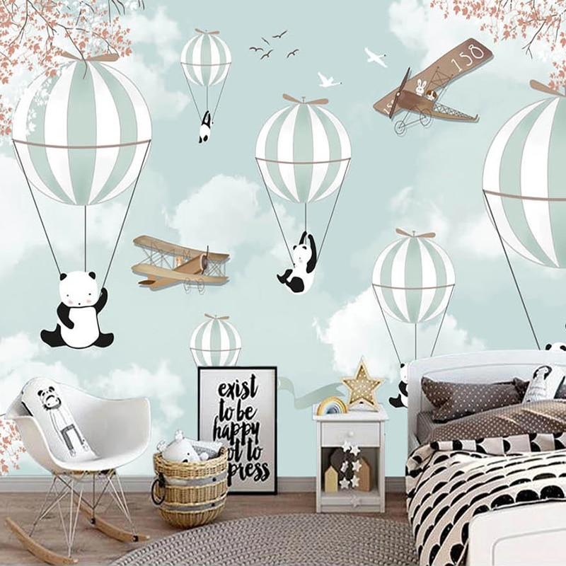 Custom Mural Wallpaper For Kids Room 3D Cartoon Hot Air Balloon Wall Painting Children Room Bedroom Decoration Photo Wall Paper