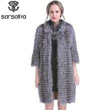 Femmes réel manteaux de fourrure tricoté manteau de fourrure femme naturel argent renard vestes dames Long luxe printemps véritable fourrure vêtements 2020 nouveau