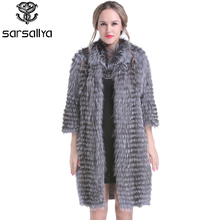Women Real Fur Coats Knitted Fur Coat Female Natural Silver Fox Jackets Ladies Long Luxury Spring Genuine Fur Clothes 2020 New