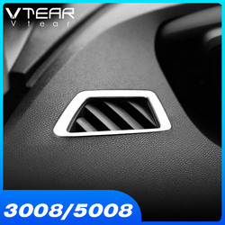Vtear For Peugeot 3008GT 5008 Accessories 2020 2019 2018 Car Dashboard Air Condition Outlet Vent Trim Cover ABS Chrome Interior