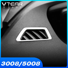 Vlarme pour Peugeot 3008GT 5008 accessoires 2021 2020 voiture tableau de bord climatisation sortie évent revêtement d'habillage ABS Chrome intérieur