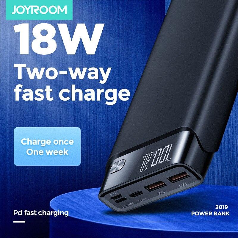 Joyroom power bank 30000 mah qc3.0 18 w pd powerbank em dois sentidos carga rápida rápida bateria externa carregador portátil externo