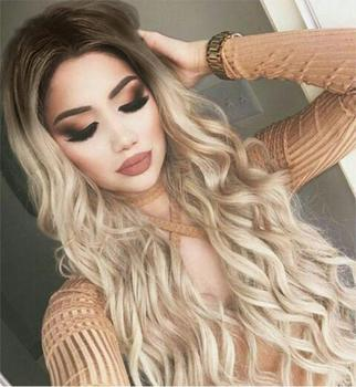 synthetic ombre long natural wave blonde wigs for women blond ombre heat resistant wig cosplaysalon брюки ombre ombre mp002xm1k5cj