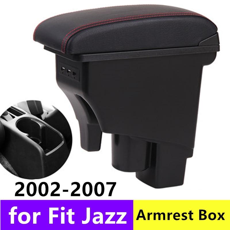 Dual-Layer Black Leather Arm Rest For Fit Jazz Hatchback 2002-2008 Centre Console Storage Box Armrest