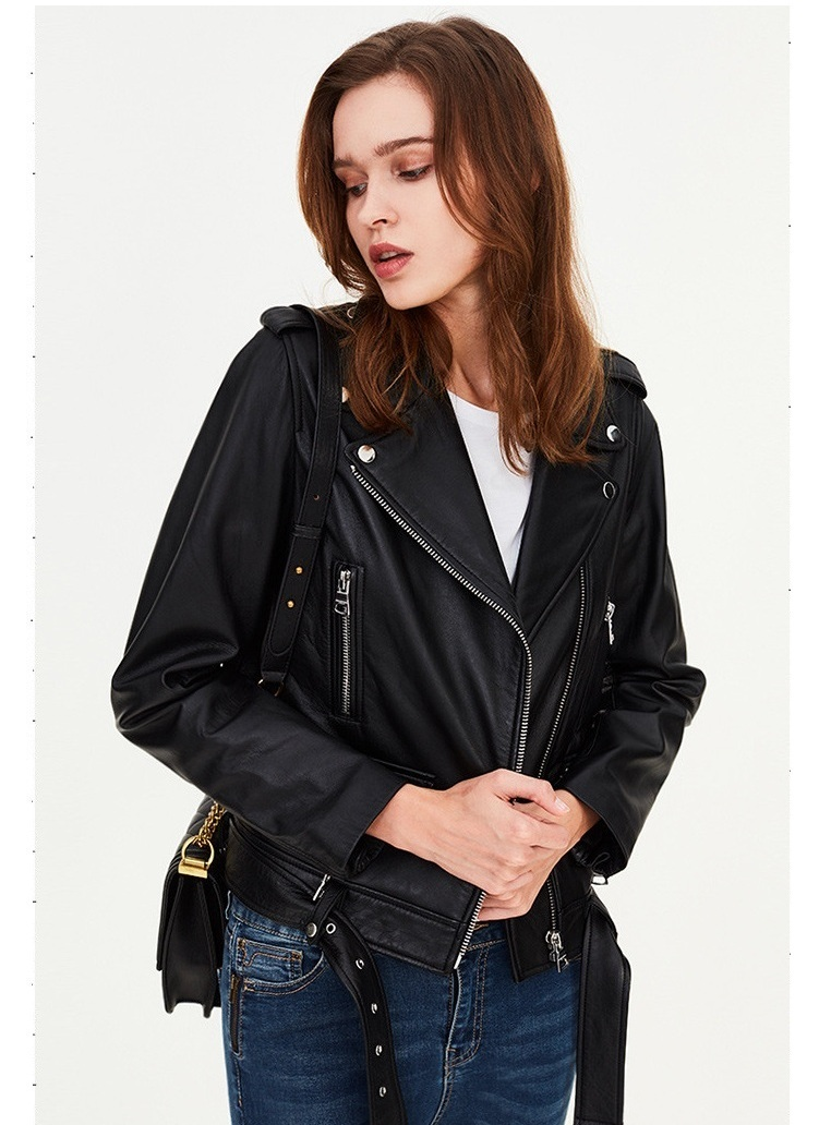 Free Shipping,Genuine Leather Woman Slim Leather Jacket.femme Fashion Motor Sheepskin Jacket,plus Size Leather Coat,hot Sales