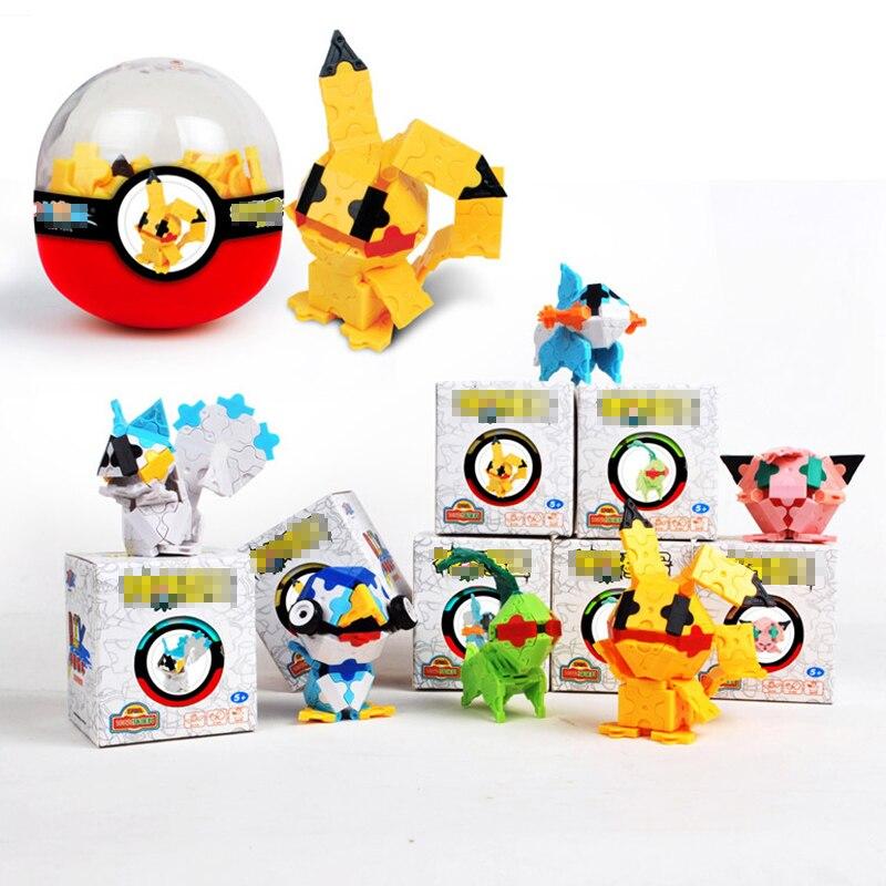 POKEMON Elf Ball Toy Pocket Monster Pikachu Action Figure Pokémon Blocks Ball Pikachu Model Anime Figure Collect Toy Kids6