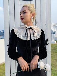 Rapwriter T-Shirts Women Mesh Velvet Runched Long-Sleeve Lace-Up Streetwear Elegant Patchwork