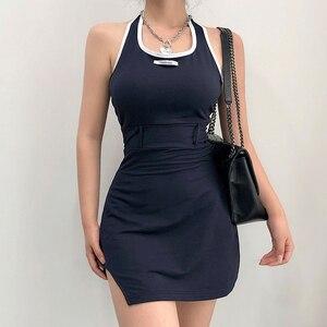 Mini vestido con cuello Halter y escote en azul marino para mujer