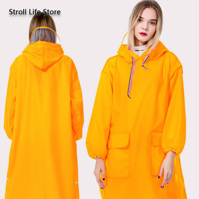 Long Raincoat Electric Motorcycle Bike Yellow Rain Coat Clear Jacket Rain Poncho Thicken Hiking Transparent Capa De Chuva Gift