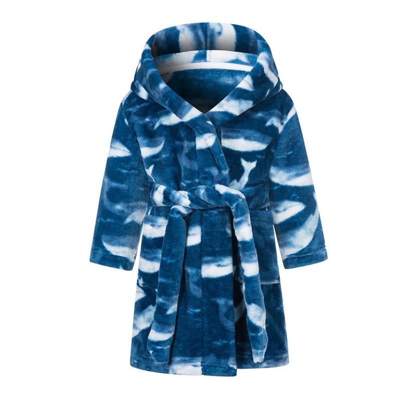 IYEAL Kids Bathrobe Flannel Sleepwear Baby Boys Robes For Girls Clothing Winter Warm Home Wear Children Robes Clothing Sleepwear 2