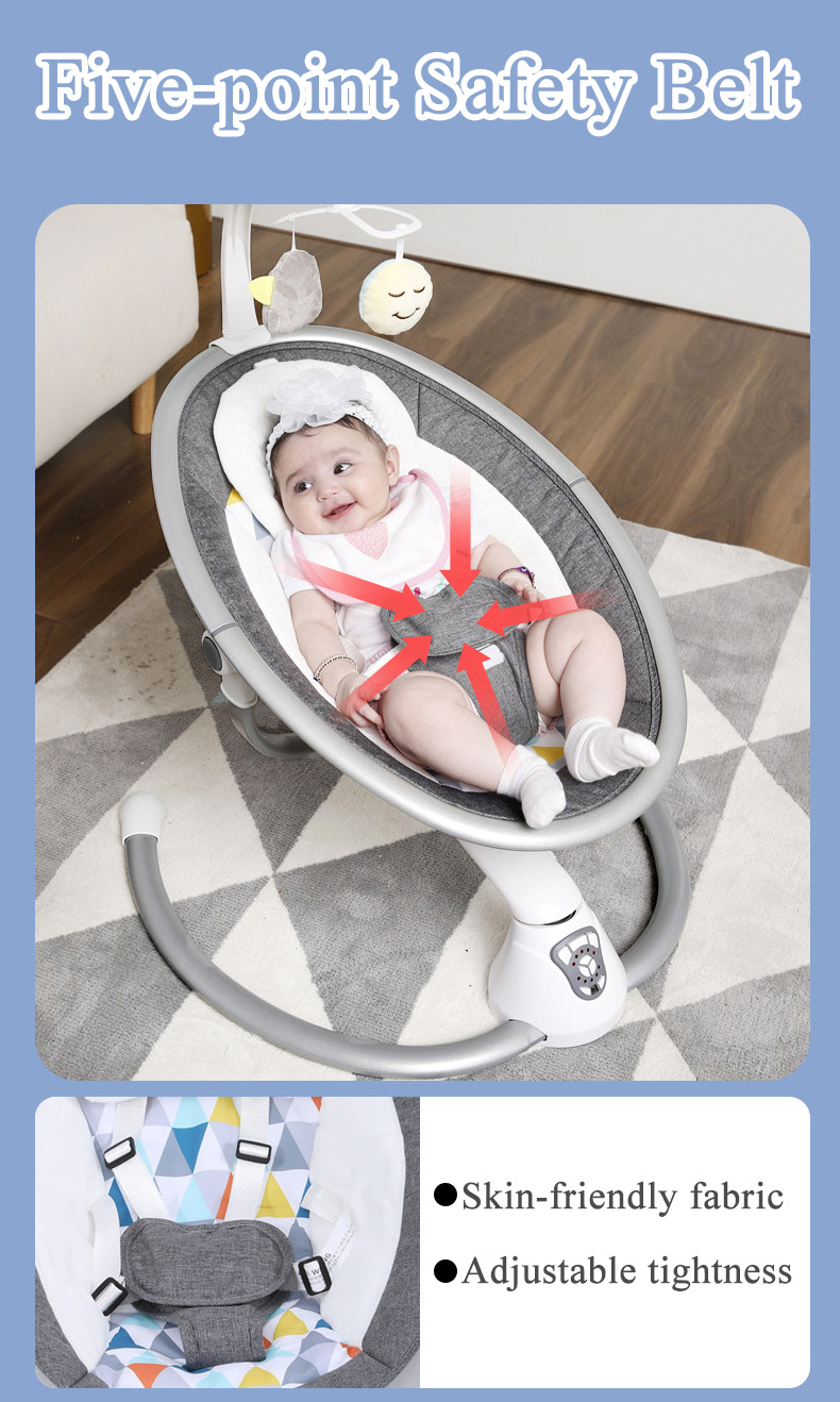H120e24435dc84b8b9bc17a830fb93d37d Babyinner Electric Baby Rocking Chair Bassinet Newborn with Mosquito Kids Swing 360 Degrees Rotatable Cradle Baby Sleeping Bed