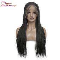 Black Braided Wig Long Lace Front Wig Synthetic Hair Extension For Women Box Braiding Hair Wig Heat Resisant Fiber Golden Beauty