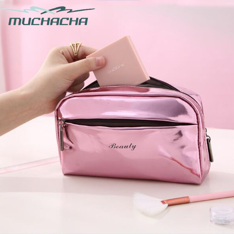 Trend Design Women Beauty Organizer Toiletry Pouch Waterproof Shiny Patent PU Leather Makeup Bag