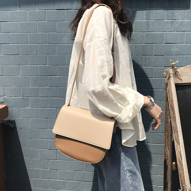 Fashion Contrast Women's Shoulder Bags High Quality Pu Crossbody Bags For Women Designer Cover Saddle Bag Ladies Messenger Bag