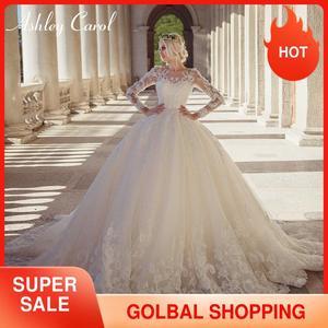 Image 1 - Ashley Carol Lace Ball Gown Wedding Dress 2020 Sexy Scoop Long Sleeve Beading Luxury Princess Bridal Dresses Vestido De Novia