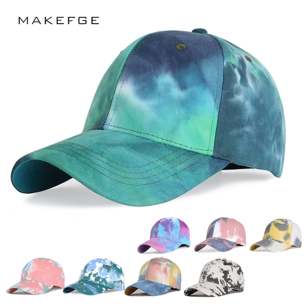 2020 Tie-dye Baseball Cap Unisex Hat Outdoor Sports Shade Baseball Cap Woman Beanie New Fashion Size Adjustable Driver Hat Bones