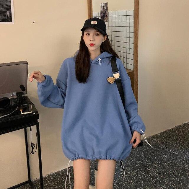 Fashion Harajuku Winter Bear Doll Hoodie Women Loose Hoodies Korean Style Sweatshirt Streetwear Fleece Hoodies Pullovers 2