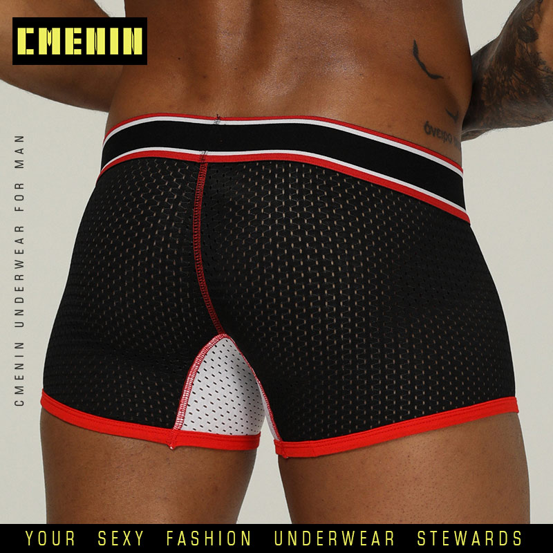 2019 Best Brand Men Underwear Boxer Mesh Boxers Sexy Cueca Masculina Boxers Mesh Shorts Gay Underwear Man Male Boy Underpants
