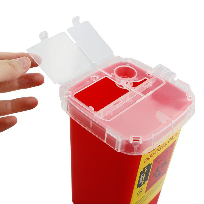 Caja de residuos de tatuajes Contenedor de basura de residuos de agujas del contenedor de residuos m/édicos Caja de residuos con tapa