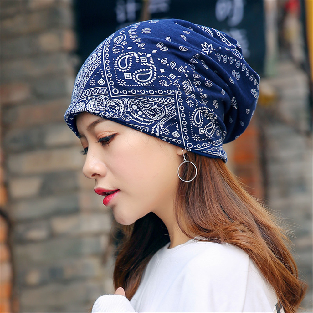 New Men Women Prints Cashew Flower Pattern Hip Hop Hipster Fashion Cover Head Cap Neck Dual Use Collar Girls Beanie Hats