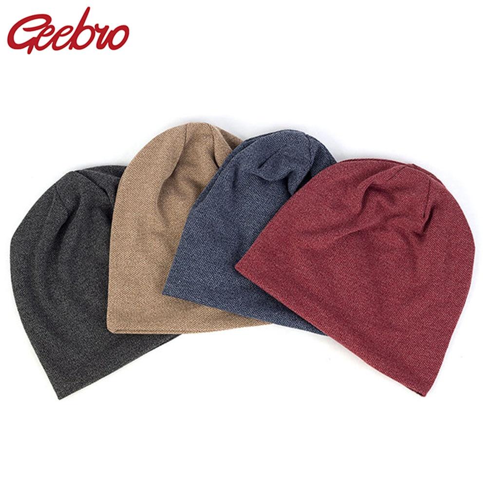 Geebro Women Knitting Beanies Hat Cotton Casual Unisex Fashion Solid Color Rib Men Skullcap Hats Fashion Winter Warm Ladies Caps