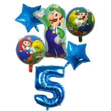 6 pçs super mario balões 30 polegada folha número balões menino menina festa de aniversário mario luigi bros mylar azul vermelho balão conjunto decoração
