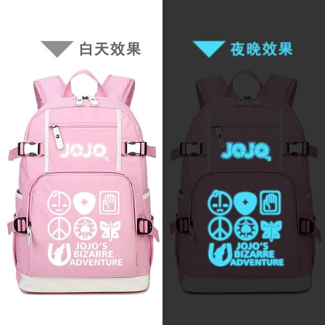 JoJo's Bizarre Adventure Women Pink Backpack Waterproof Travel Bagpack Anime Bookbag Kujo Jotaro School Bags for Teenage Girls 5