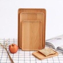 Прямоугольная деревянная посуда, сервировочный декоративный поднос, держатель для еды, контейнер для фруктов, для завтрака, поднос для хранения, кухонные принадлежности