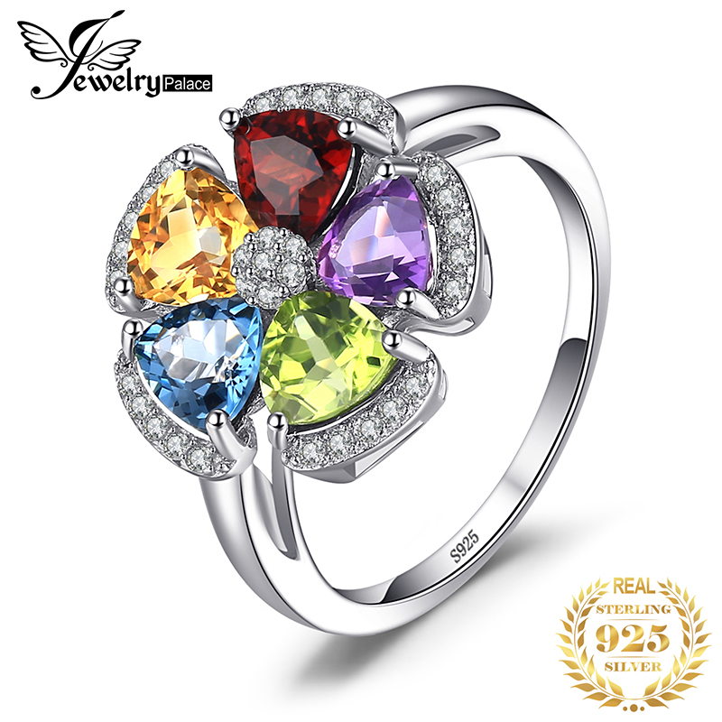JPalac Flower Natural Amethyst Citrine Garnet Peridot Topaz Ring 925 Sterling Silver Rings For Women Silver 925 Gemstone Jewelry