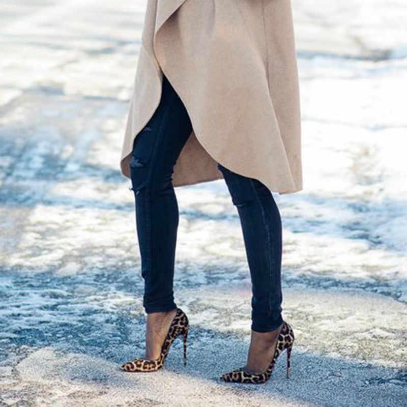 KAMUCC Degli Alti Talloni Scarpe Da Donna Pompe Gregge di Stampa Del Leopardo Sexy Tacchi A Spillo 10 12 centimetri Partito scarpe Col Tacco Alto Scarpe di Marca Più Grande formato