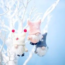 Nette 2020 Weihnachten Gesichtslosen Puppe Santa Claus Schneemann Weihnachten Baum Anhänger Hängende Ornamente Navidad 2021 Neue Jahr Geschenke