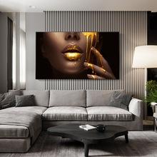 Malarstwo ścienne malarstwo sztuka złote usta nowoczesny portret kobiety plakat malarstwo salon dekoracji wnętrz płótno bez ramy tanie tanio CN (pochodzenie) Płótno wydruki Pojedyncze Na płótnie Wodoodporny tusz Streszczenie Bezramowe lustra Amerykański styl