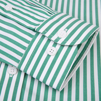 Men's Long Sleeve Standard-fit Pinpoint Striped Dress Shirt Pocket-less Design Casual Button Down Easy-care Cotton Shirts 4