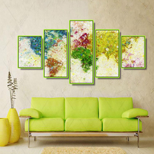 Laeacco Canvas Painting Calligraphy Abstract 5 Panel Watercolor World Map Posters and Prints Art Picture Living Room Home Decor