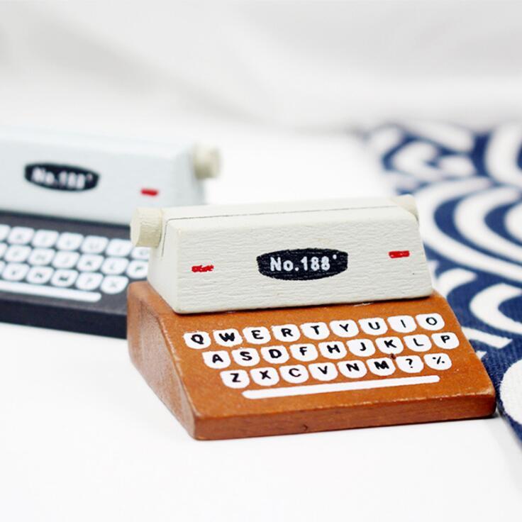 New Arrival Vintage Simulation Printer Folder Wooden Paper Photo Business Card Clip Holder Decorative Message Holder Stationery