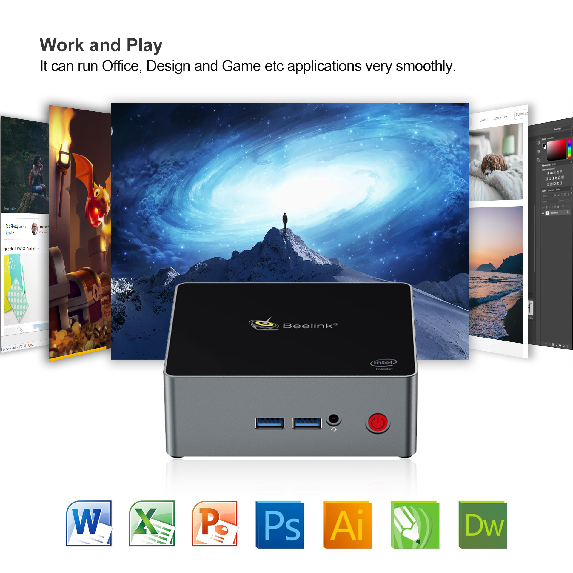 Beelink Latest J45 Powerful Mini Pc 4G/8G 128G/256G/512G J4205 1000M Dual Wifi Business Smart Mini PC Desktop