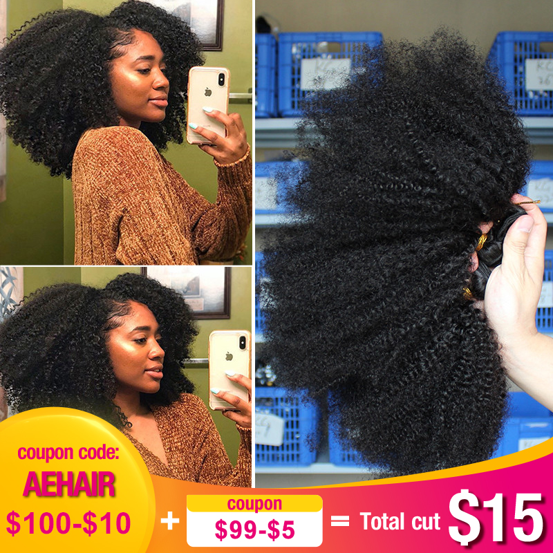 Mongolian Afro Kinky Curly Hair Weave With Closure Natural Black 4B 4C Virgin Human Hair Bundles Extension 3 Dolago Products