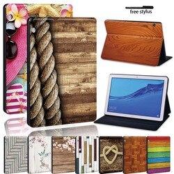 Pour Huawei MediaPad T5 10/MediaPad T3 8.0/MediaPad T3 10 9.6-tablette léger imprimé bois cuir support de tablette housse