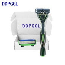 DDPGGL Men Stainless Steel 6 Layer Replaceable Blade Mingshi High Quality 1 Holder2pcs Blades Shaver Hair Removal Deep Cleansing